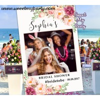 Floral Wedding photo booth props frame,Boho Bridal Shower photo booth props frame,(31aw)