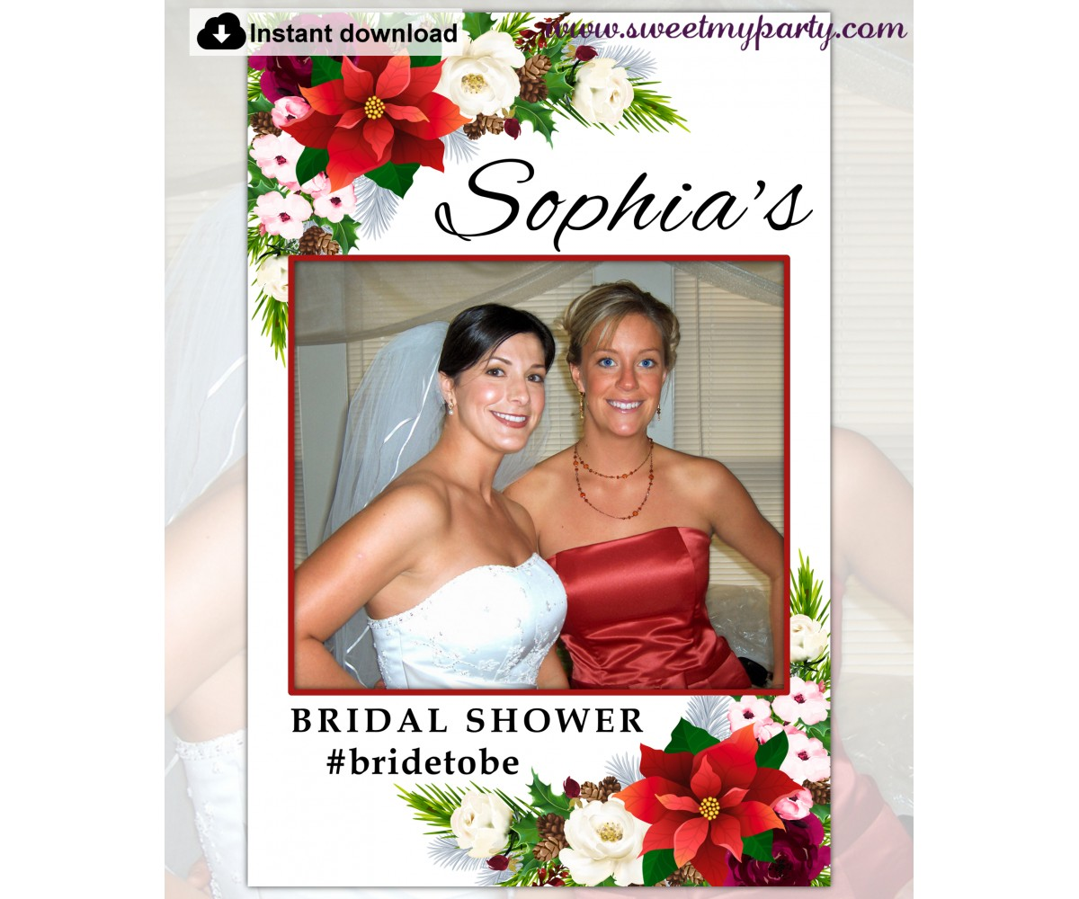 Winter Bridal Shower Photo Booth Frame template,(154)