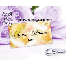 Feathers Glitter wedding place cards template,Gold Glitter Wedding Place Cards with feathers template,(09w)