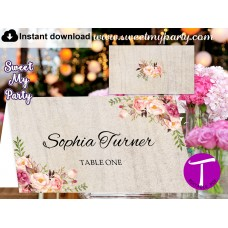 Boho Escort Cards template, Floral Place Cards template, (31)