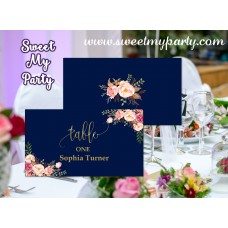 Floral Navy Wedding Place card,Floral Wedding seating card,(054w)