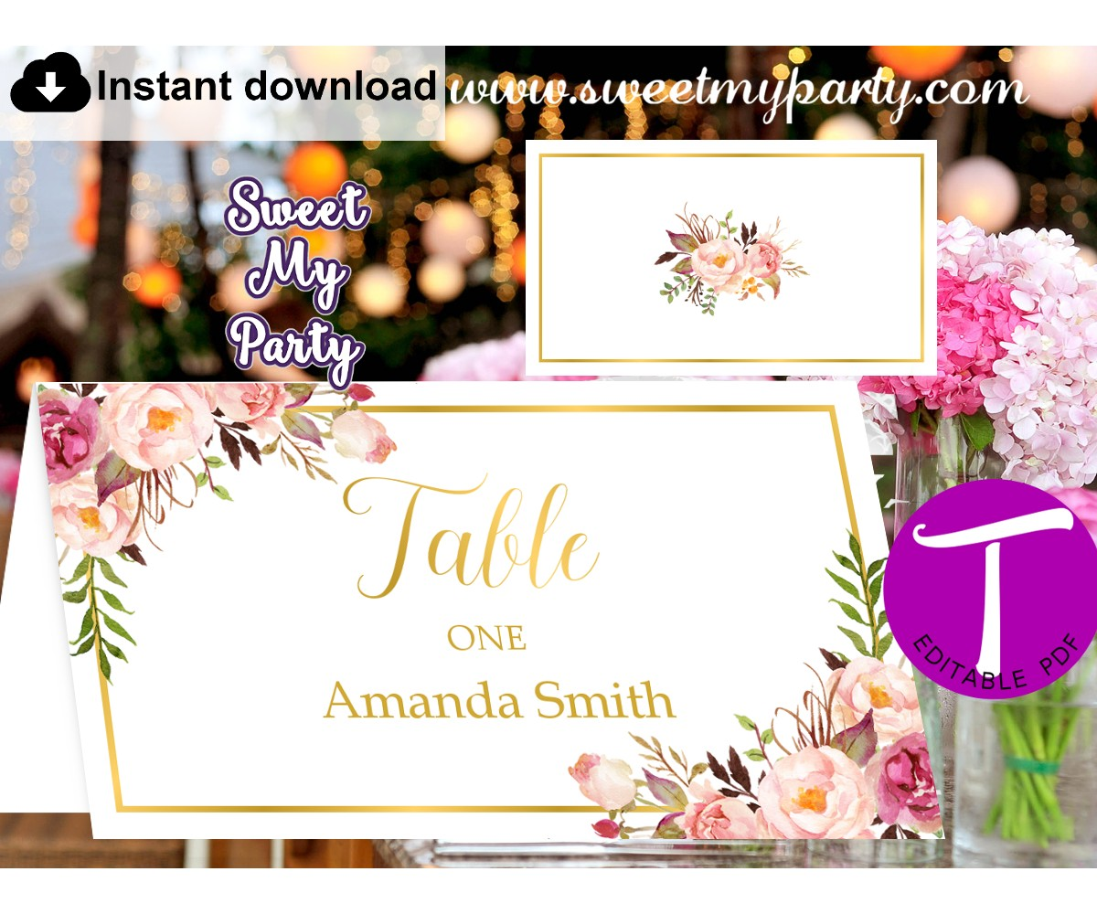 Floral Escort Cards template, Floral Place Cards template, (31g)