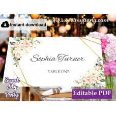 Geometric Escort Cards template, Floral Place Cards template, (128)