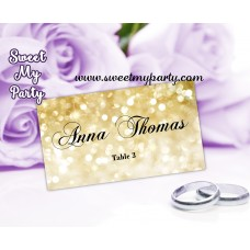 Gold Wedding place cards template,Glitter Wedding Place Card template,Golden Wedding Place Cards template,(008w)