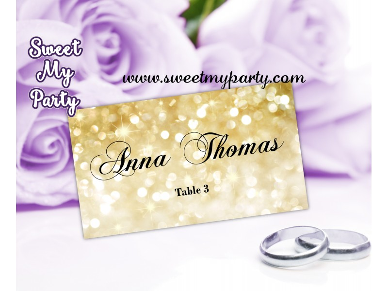 Gold Wedding Place Cards Template Glitter Card Golden