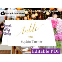 Gold Escort Cards template,Gold Calligraphy Place Cards template, (27)