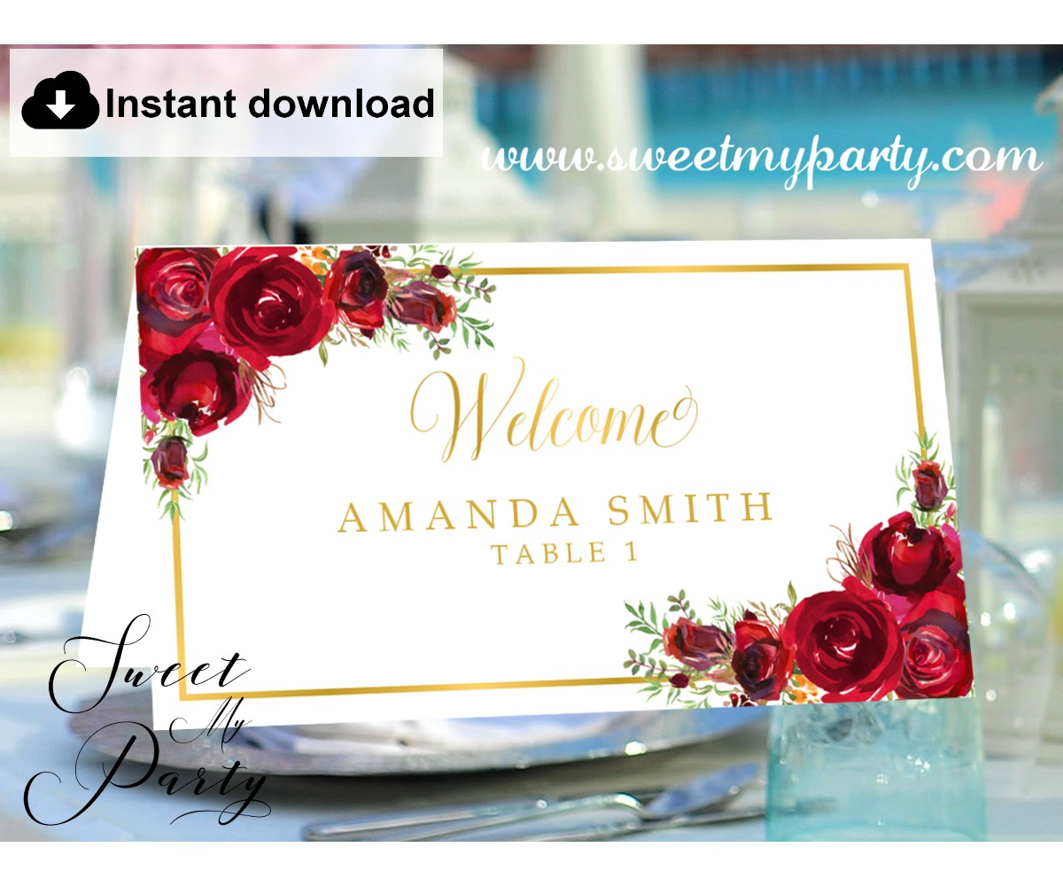 Red Roses Escort Cards template, Red Roses Place Cards template, (016)