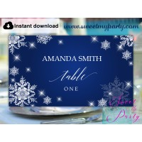 Snowflakes Escort Cards template printable,Winter Wedding Place Cards template,(152)