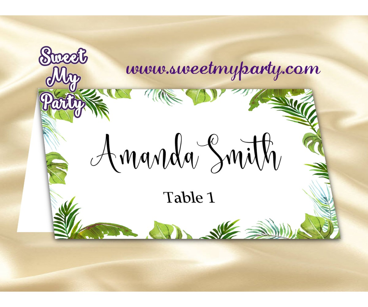 Tropical Place cards,Greenery escort cards,(113w)