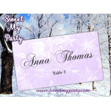 Winter Wedding Place Card template,Lavender Snowflakes Wedding Place Card templates,(10)