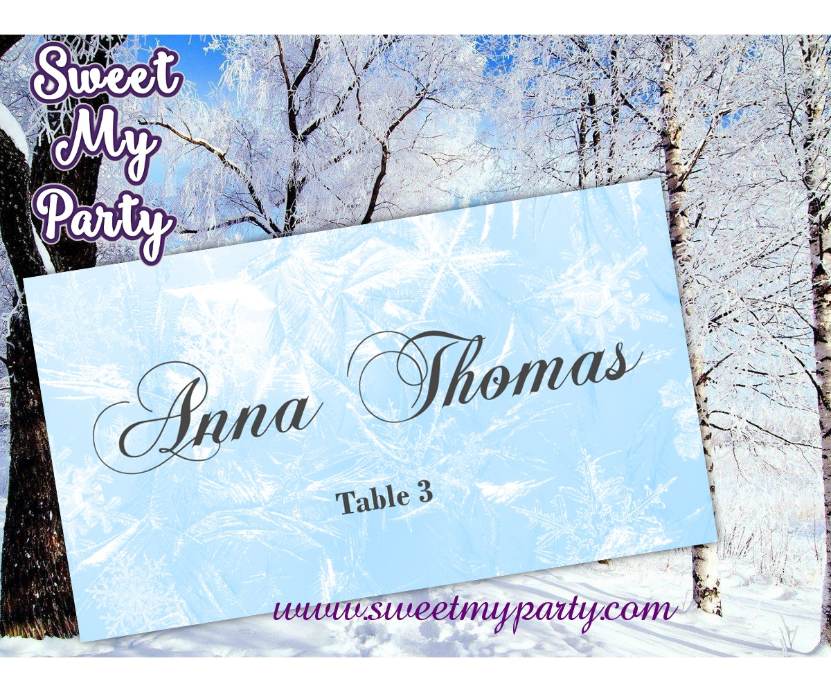 Winter Wedding Place Card template,Snowflakes Wedding Place Card templates,(11)