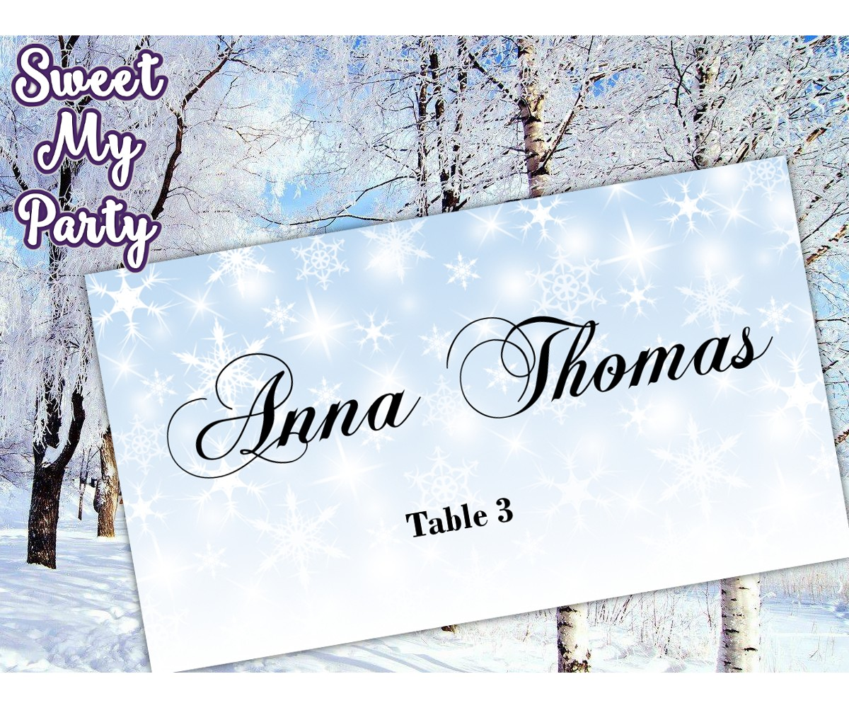 Winter Wedding Place Card template,Snowflakes Wedding Place Card templates,(12)