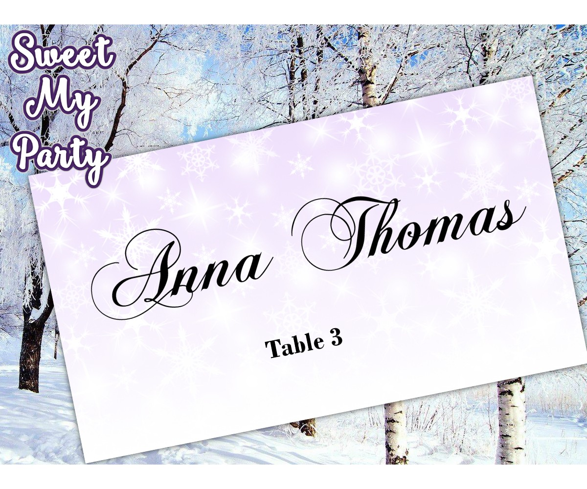 Winter Wedding Place Card template,Lavender Snowflakes Wedding Place Card templates,(13)