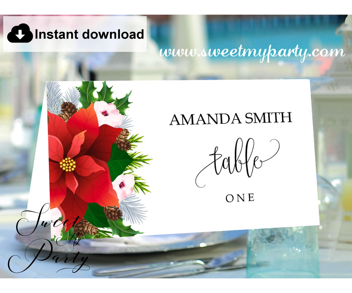 Winter Wedding Escort Cards template printable,Christmas Place Cards  template,(21) Regarding Christmas Table Place Cards Template