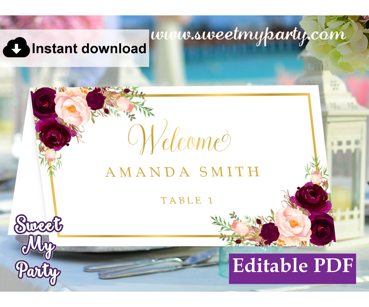 Burgundy Escort Cards template,Maroon Place Cards template,(61c)