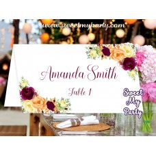 Burgundy Orange Place card,Burgundy yellow escort cards, (107a)