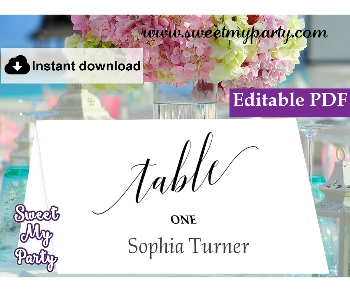 Calligraphy Escort Cards template printable,Place Cards template, (27)