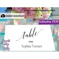 Calligraphy Escort Cards template printable,Modern Calligraphy Place Cards template, (27)