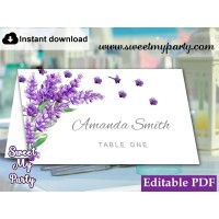 Lavender Escort Cards template printable,Lavender Place Cards template,(131)