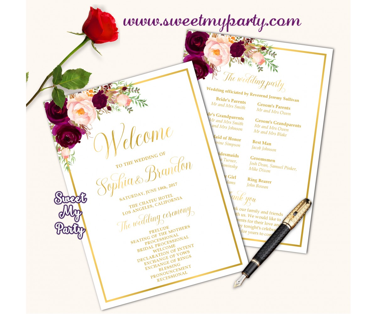 Burgundy Wedding program fan,Burgundy Wedding itinerary,(61c)