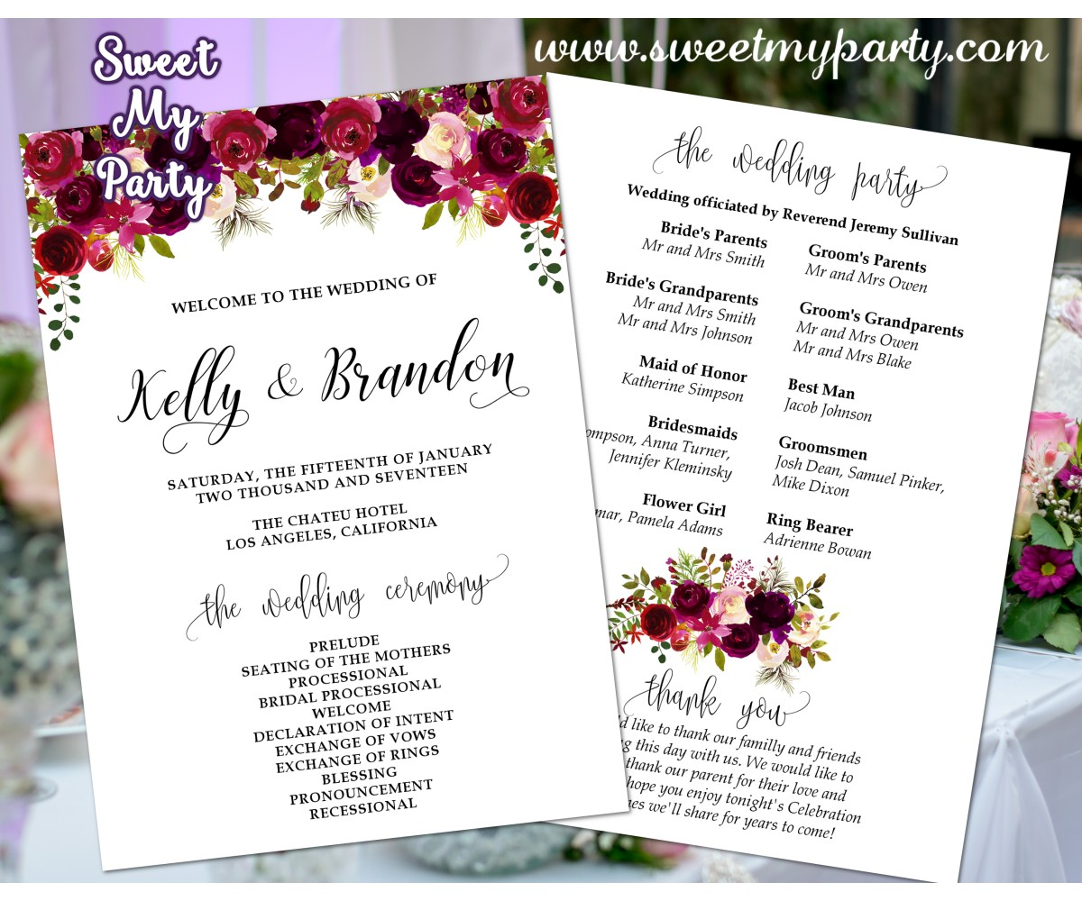 Floral burgudy Wedding program fan,Floral burgundy Wedding itinerary,(032w)