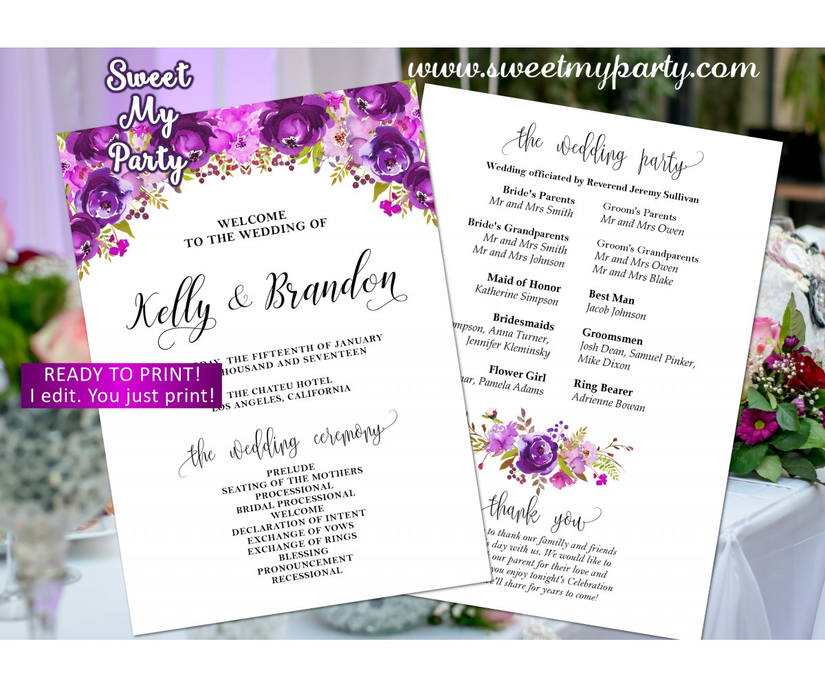 Lilac Wedding program fan,Purple Wedding itinerary,(33w)
