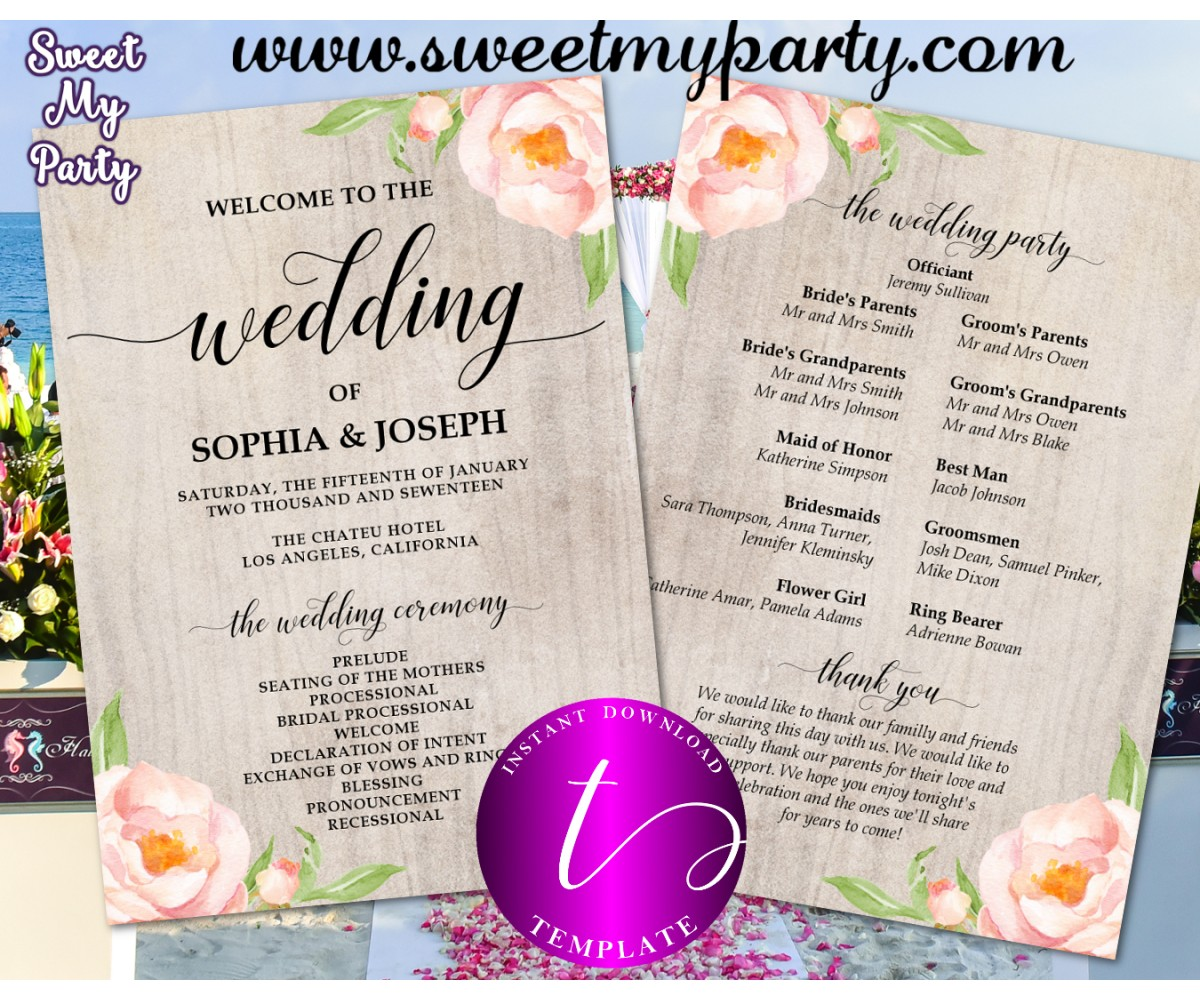 Wedding Program Fan Template.Floral Wedding Program Fan Template Printable Boho Wedding
