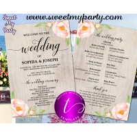 Boho Wedding Program fan template,Floral Wedding itinerary template,(38w)