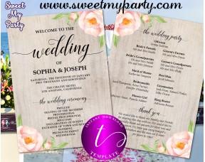 Fl Wedding Program Fan Template Itinerary 38w