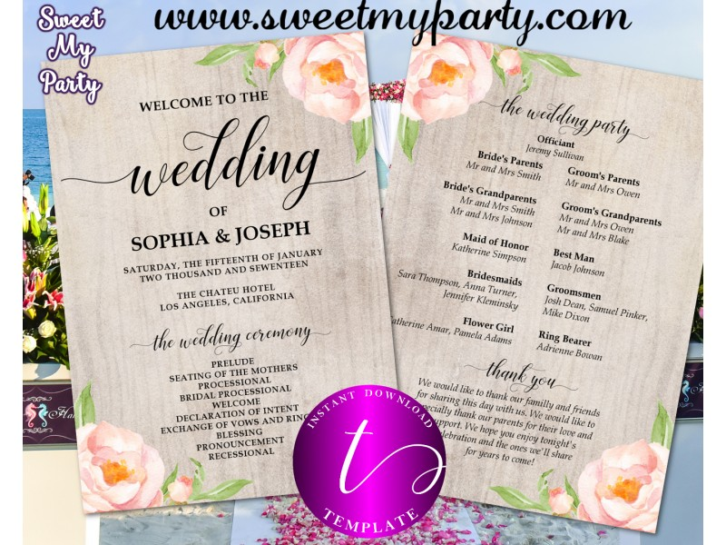 Fl Wedding Program Fan Template Itinerary 38w