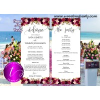 Floral Burgundy Wedding Program tea length template,(032w)