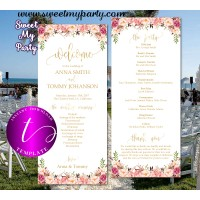 Floral Wedding Program tea length template, design 057w