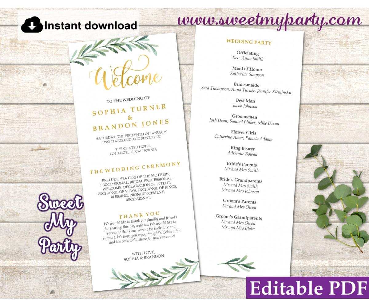 Wedding Programs Templates.Greenery Wedding Program Tea Length Template Greenery Wedding Order Of Service Template 78