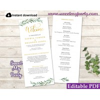Greenery Wedding Program tea length template,Greenery Wedding Order of Service template, (78)