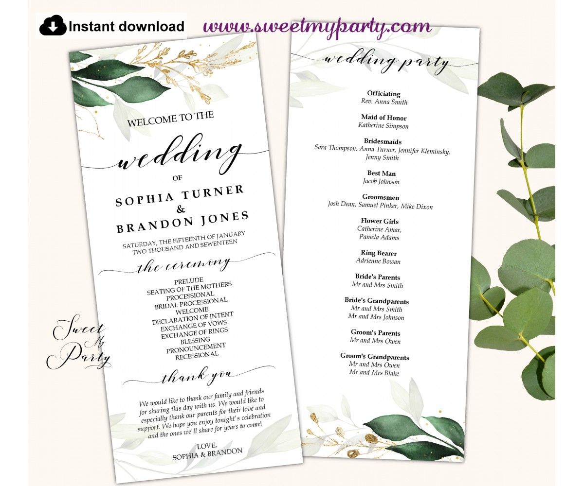 Greenery Wedding Program tea length,Greenery Wedding Order of Service template, (148)