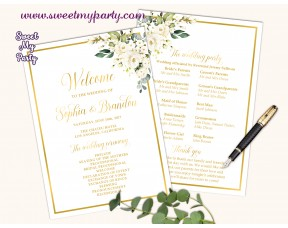 Ivory Roses Wedding program fan,Cream Roses Wedding itinerary,(123b)