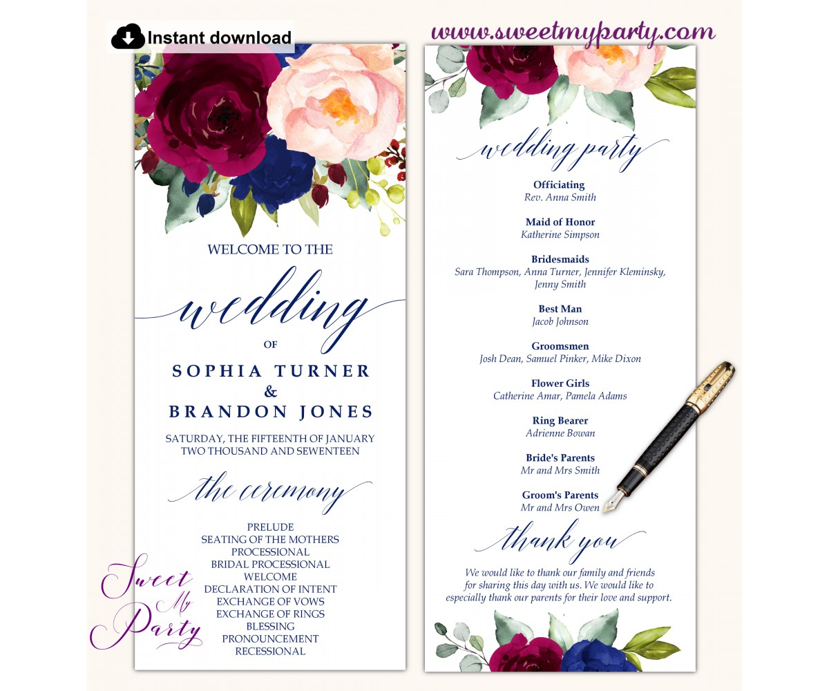 Burgundy Blush Navy Wedding Program template tea length, (151)