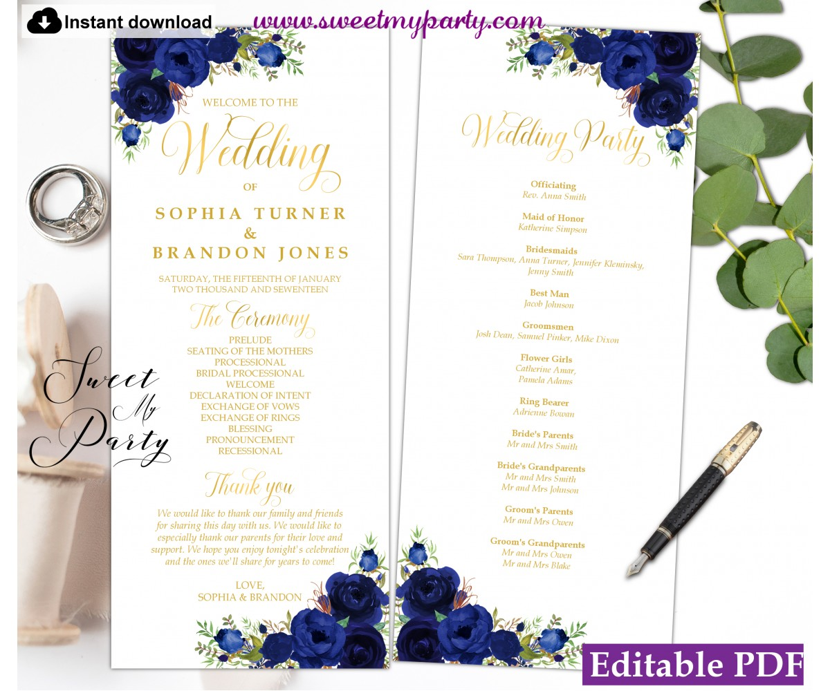 Navy Blue Wedding Program template tea length, (39)
