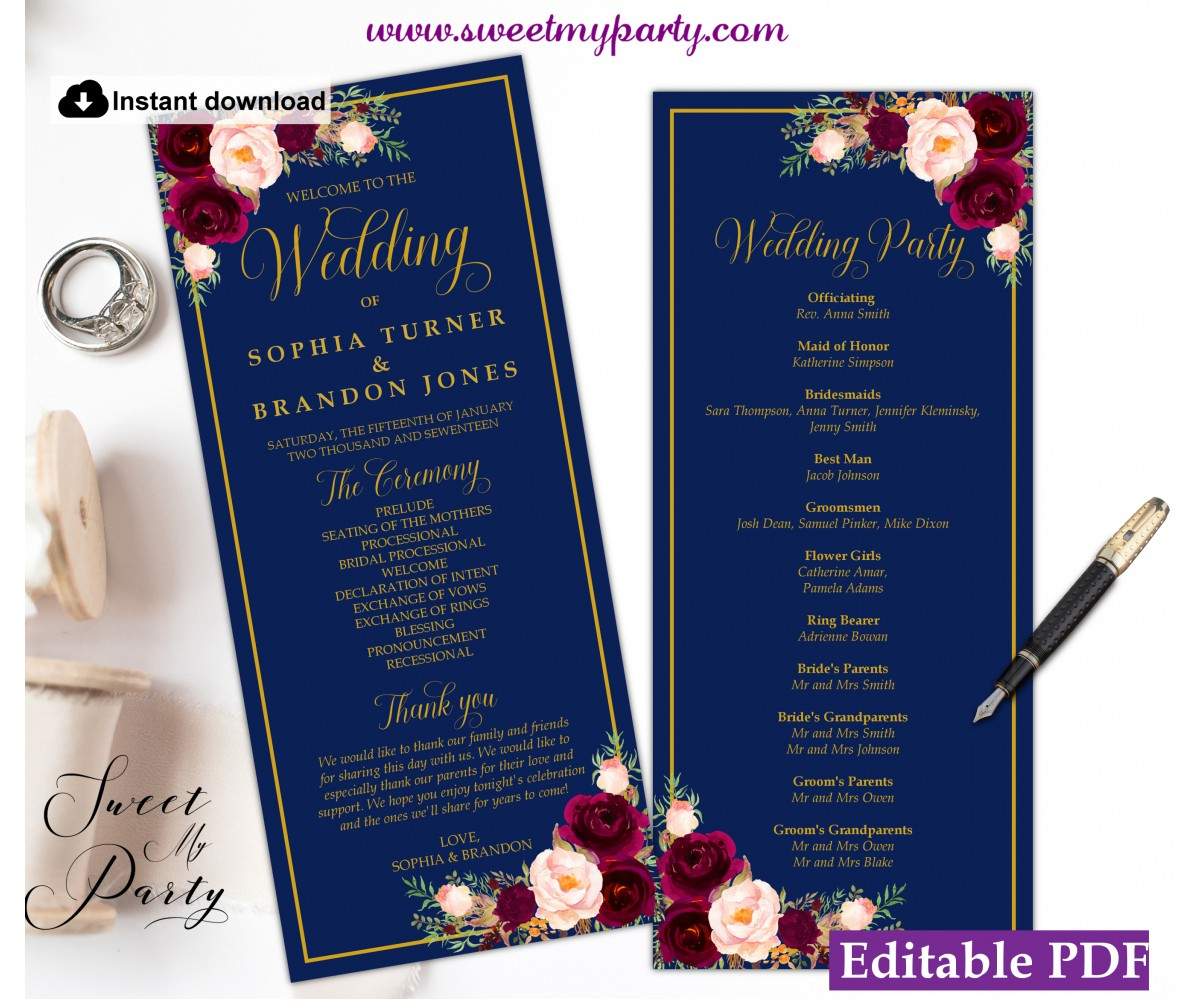 Navy Burgundy Wedding Program tea length template,Navy Wedding Order of Service template, (147w)