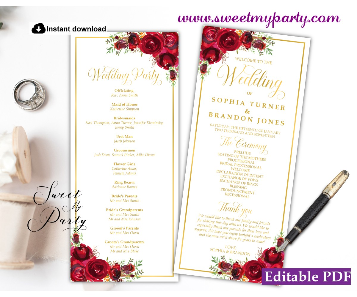 Red Roses Wedding Program template tea length, (016w)
