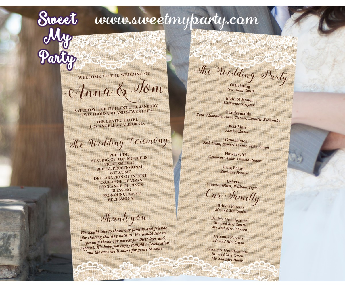 Rustic Wedding Program card tea length, Lace Burlap Wedding program tea length,(029w)