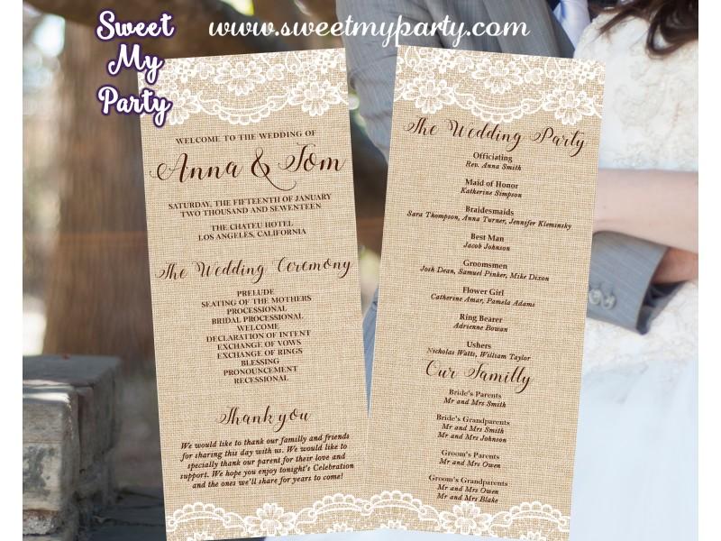 Rustic Wedding Program Card Tea Length Lace Burlap Length029w