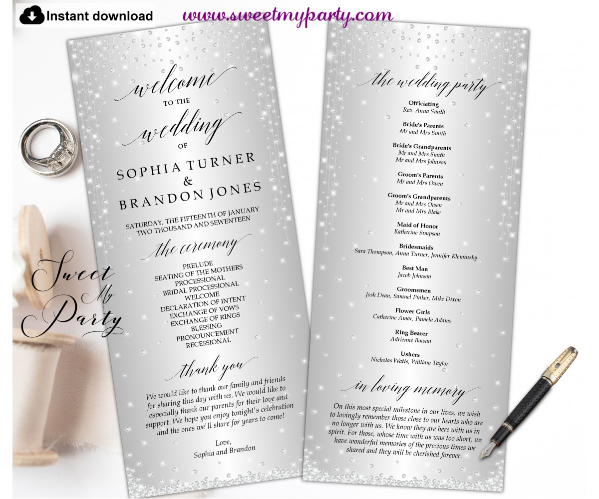 Silver Diamonds Wedding Programs tea length,Silver Wedding Program template,(015w)