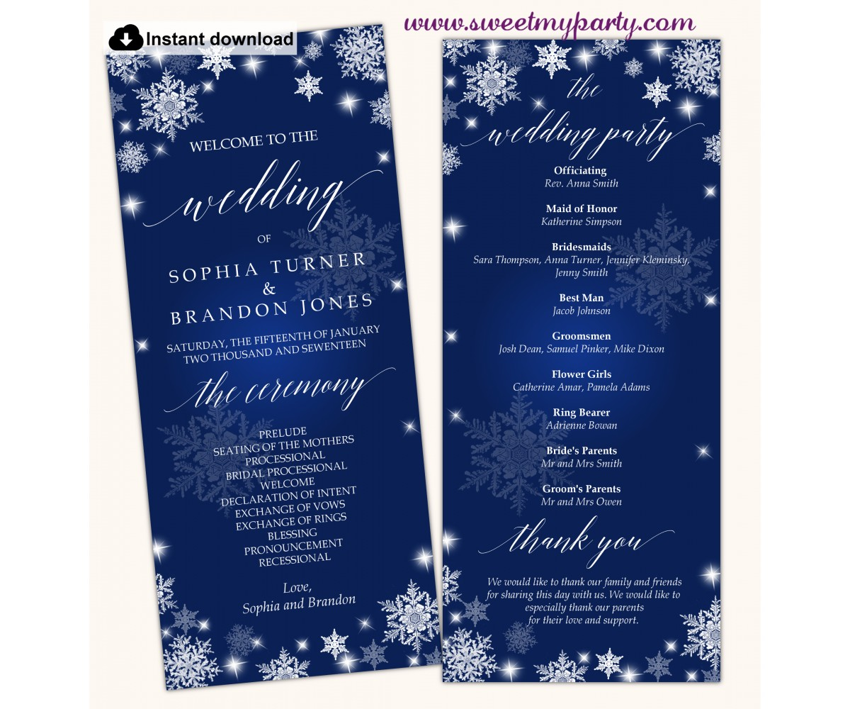 Snowflakes Wedding Program tea length,Winter Wedding Program template,(152)