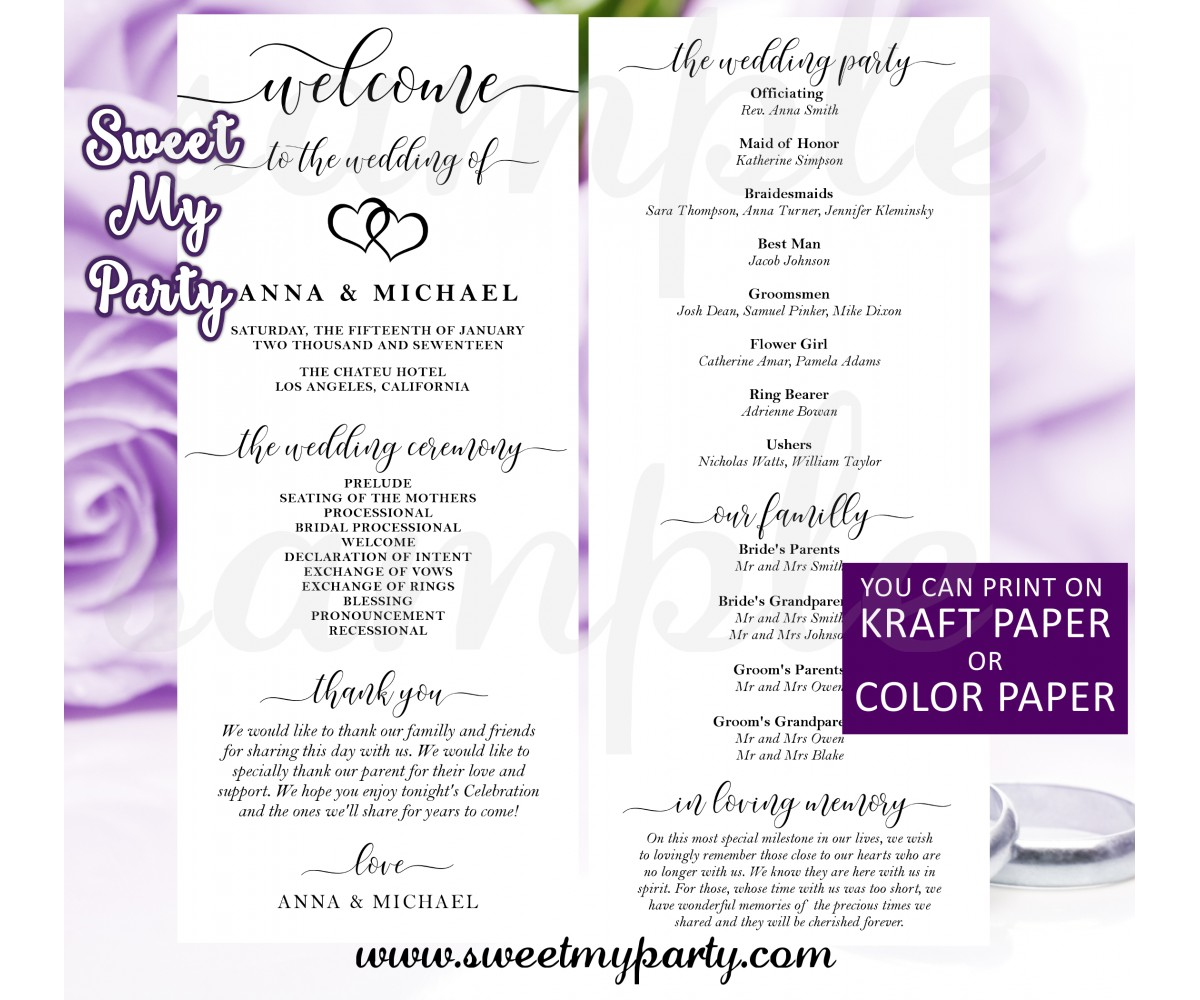 Rustic Wedding Program card tea length,Modern wedding program card,(022w)