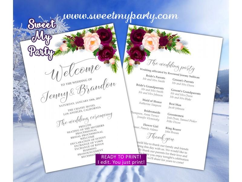 winter wedding program fan pine cone wedding program fan burgundy