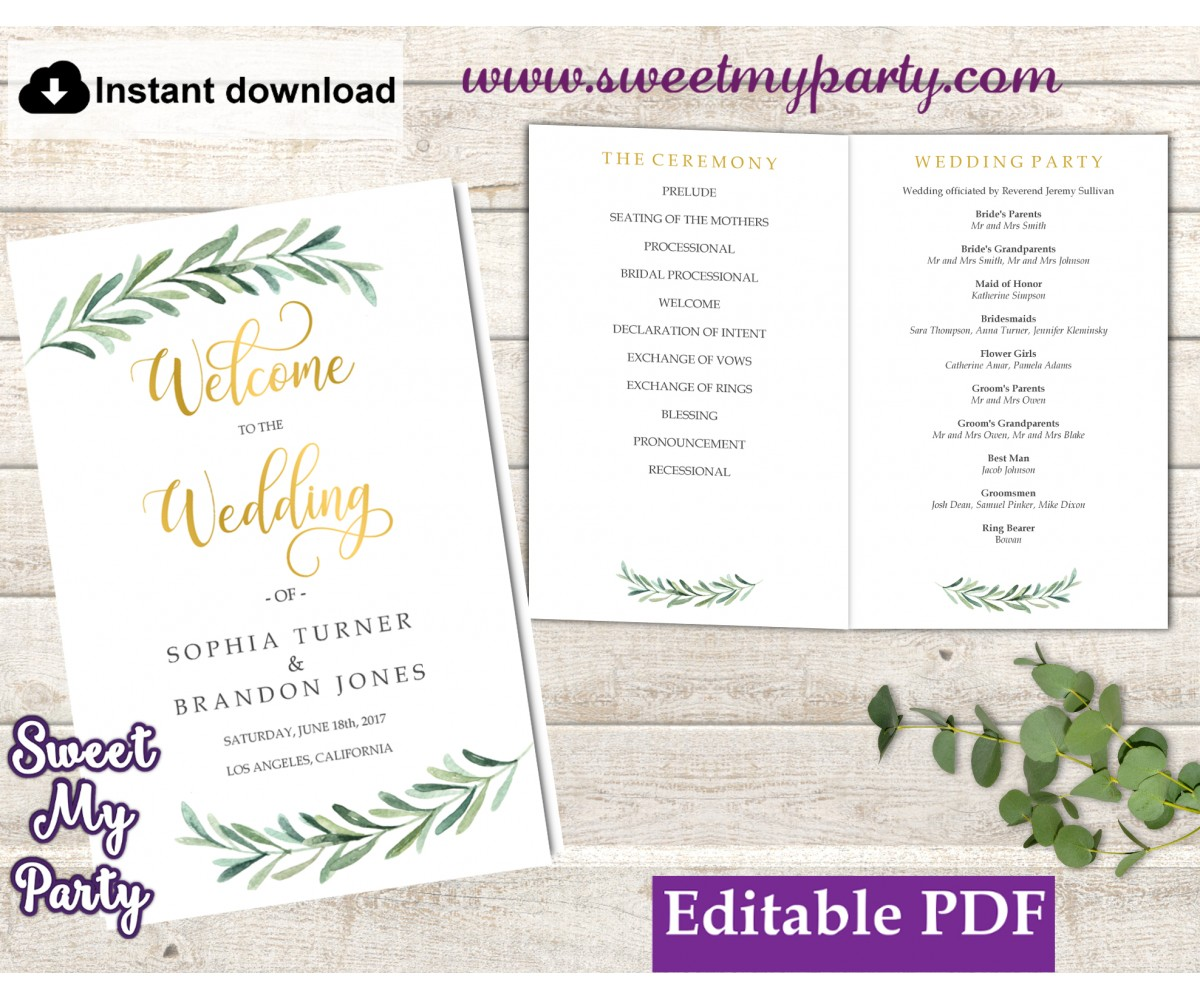 Greenery Wedding Program booklet template,Greenery Wedding Order of Service template, (78)