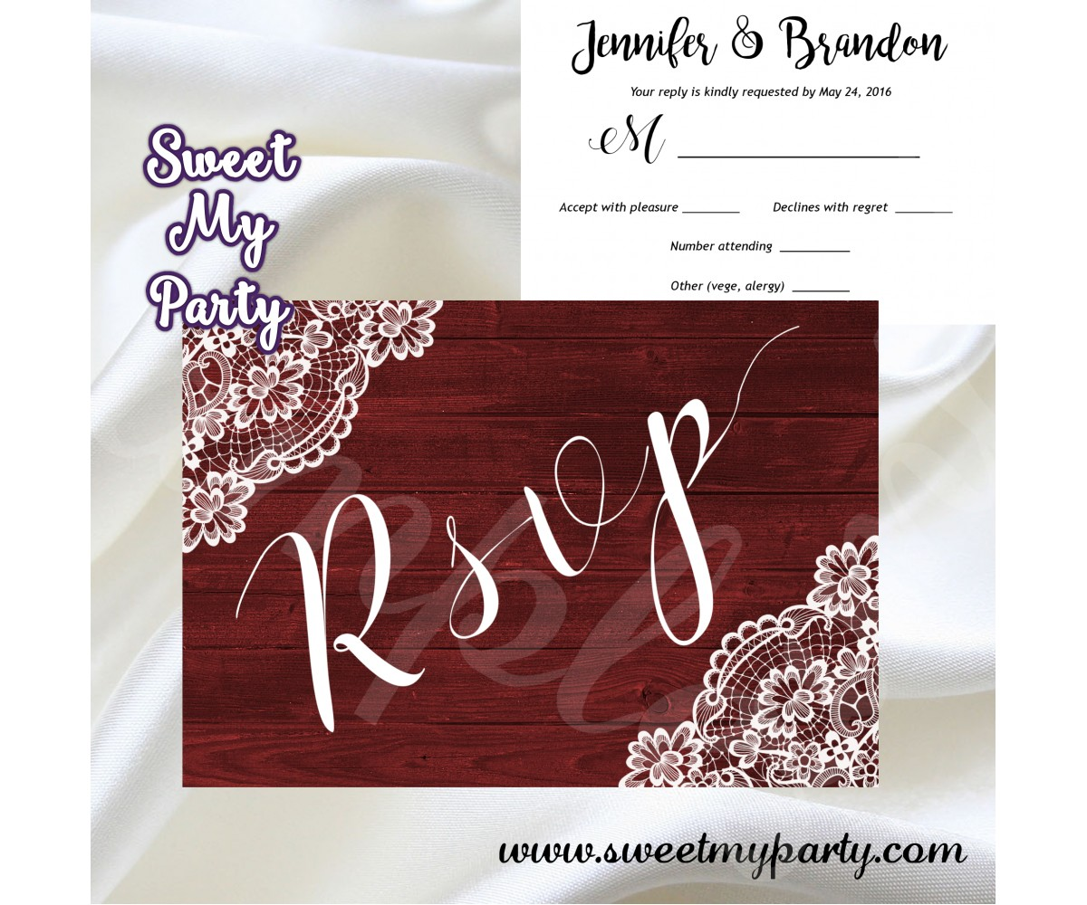 Rustic Wedding RSVP card,Vintage Lace Wedding RSVP card,(017w)