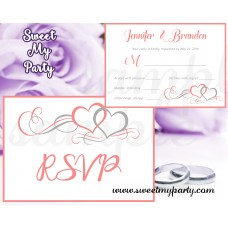 Hearts Wedding RSVP card,Coral Hearts Wedding RSVP cards,(018w)