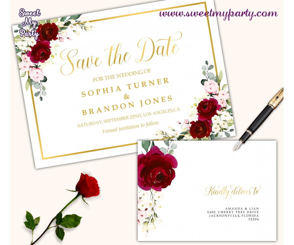 Burgundy Save the Date card printable template,Ivory Save the Date,(124)